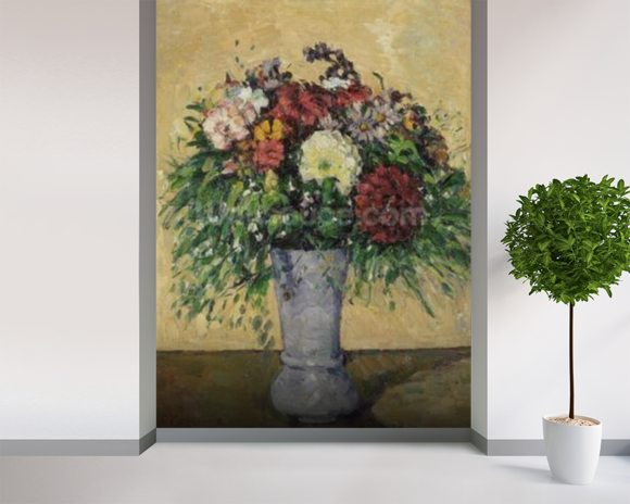 Bouquet of Flowers in a Vase, c.1877 (oil on canvas) wall mural room setting