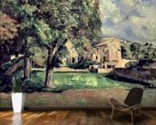 Trees in a Park, Jas de Bouffan, 1885-87 (oil on canvas) wallpaper mural kitchen preview