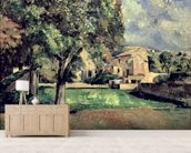 Trees in a Park, Jas de Bouffan, 1885-87 (oil on canvas) wallpaper mural living room preview