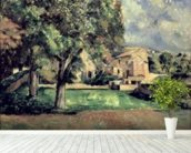 Trees in a Park, Jas de Bouffan, 1885-87 (oil on canvas) wallpaper mural in-room view
