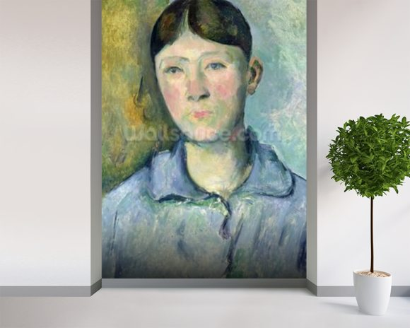 Portrait of Madame Cezanne, 1885-90 (oil on canvas) mural wallpaper room setting