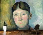 Portrait of Madame Cezanne, 1885-90 (oil on canvas) mural wallpaper kitchen preview