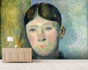 Portrait of Madame Cezanne, 1885-90 (oil on canvas) mural wallpaper living room preview