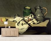 Still Life with a Kettle, c.1869 (oil on canvas) wallpaper mural living room preview