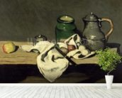 Still Life with a Kettle, c.1869 (oil on canvas) wallpaper mural in-room view