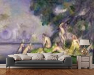 Boat and Bathers (oil on canvas) mural wallpaper