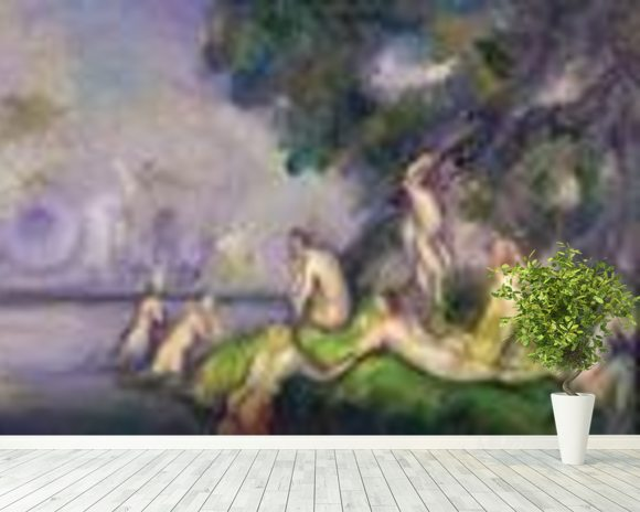 Boat and Bathers (oil on canvas) mural wallpaper room setting