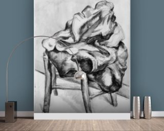 Drapery on a Chair, 1980-1900 (pencil and w/c wash on paper) (b/w photo) wall mural