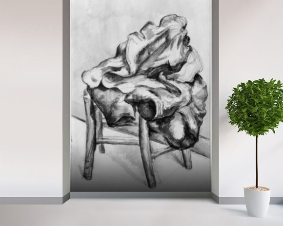 Drapery on a Chair, 1980-1900 (pencil and w/c wash on paper) (b/w photo) wall mural room setting