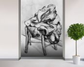Drapery on a Chair, 1980-1900 (pencil and w/c wash on paper) (b/w photo) wall mural in-room view