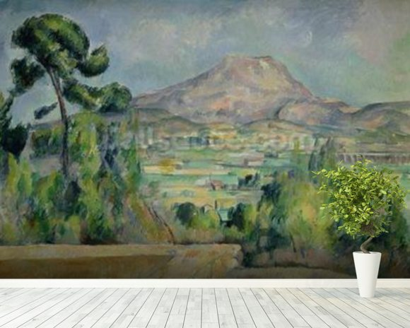 Montagne Sainte-Victoire, c.1887-90 (oil on canvas) mural wallpaper room setting