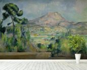 Montagne Sainte-Victoire, c.1887-90 (oil on canvas) mural wallpaper in-room view