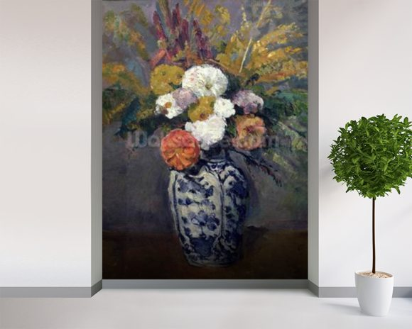 Dahlias, c.1873 (oil on canvas) wall mural room setting
