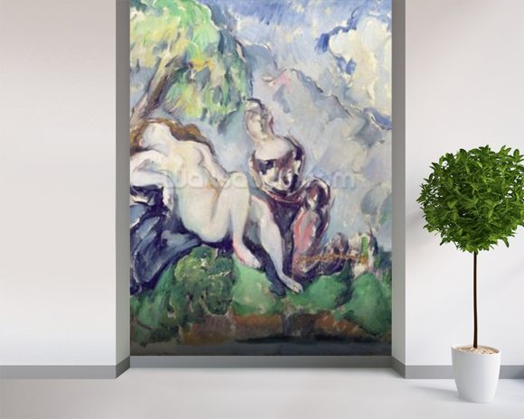 Bathsheba (oil on canvas) wallpaper mural room setting