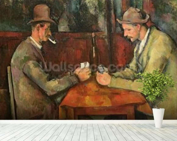 The Card Players, 1893-96 (oil on canvas) mural wallpaper room setting