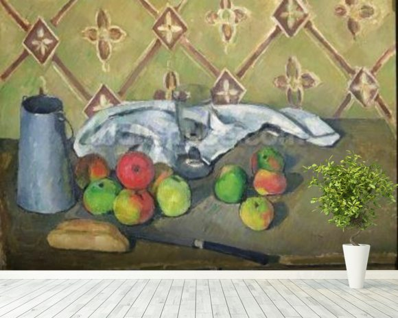 Fruit, Serviette and Milk Jug, c.1879-82 (oil on canvas) mural wallpaper room setting