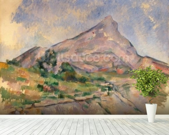 Mont Sainte-Victoire, 1897-98 (oil on canvas) mural wallpaper room setting