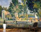 Jas de Bouffan, the pool, c.1876 (oil on canvas) wallpaper mural kitchen preview