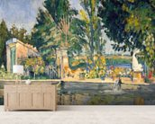 Jas de Bouffan, the pool, c.1876 (oil on canvas) wallpaper mural living room preview