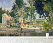 Jas de Bouffan, the pool, c.1876 (oil on canvas) wallpaper mural in-room view
