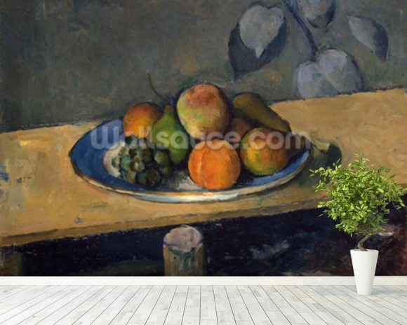 Apples, Pears and Grapes, c.1879 (oil on canvas) wallpaper mural room setting