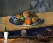 Apples, Pears and Grapes, c.1879 (oil on canvas) wallpaper mural kitchen preview