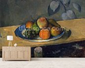 Apples, Pears and Grapes, c.1879 (oil on canvas) wallpaper mural living room preview