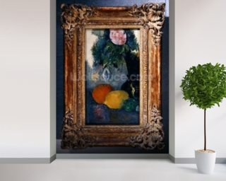Flowers and fruits, c.1880 (oil on canvas) (see also 287552) mural wallpaper