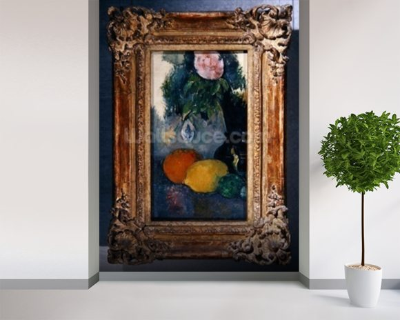 Flowers and fruits, c.1880 (oil on canvas) (see also 287552) mural wallpaper room setting
