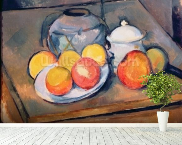 Straw-covered vase, sugar bowl and apples, 1890-93 (oil on canvas) (also see 287555) mural wallpaper room setting
