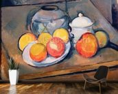 Straw-covered vase, sugar bowl and apples, 1890-93 (oil on canvas) (also see 287555) mural wallpaper kitchen preview