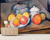 Straw-covered vase, sugar bowl and apples, 1890-93 (oil on canvas) (also see 287555) mural wallpaper living room preview