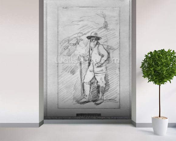 Camille Pissarro (black lead on paper) (b/w photo) wall mural room setting