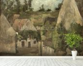 Crossroads at the Rue Remy, Auvers, c.1872 (oil on canvas) mural wallpaper in-room view