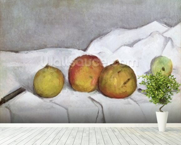 cezanne paul fruit on a cloth wall mural wallsauce