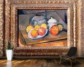 Straw-covered vase, sugar bowl and apples, 1890-93 (oil on canvas) (also see 393804) wallpaper mural kitchen preview