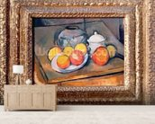 Straw-covered vase, sugar bowl and apples, 1890-93 (oil on canvas) (also see 393804) wallpaper mural living room preview