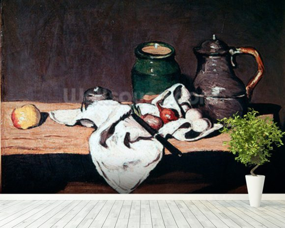 Still life with a tin kettle, 1869 (oil on canvas) mural wallpaper room setting