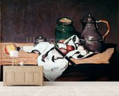 Still life with a tin kettle, 1869 (oil on canvas) mural wallpaper living room preview