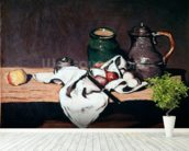 Still life with a tin kettle, 1869 (oil on canvas) mural wallpaper in-room view