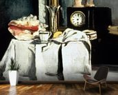 The Black Marble Clock, c.1870 (oil on canvas) wallpaper mural kitchen preview