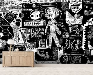 Graffiti - Black and White Wallpaper Wall Murals