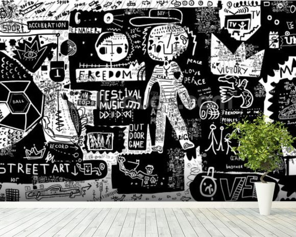 Graffiti - Black and White wall mural room setting