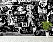 Graffiti - Black and White wall mural in-room view
