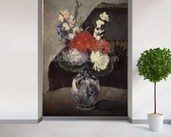 Flowers in a Small Delft Vase, c.1873 (oil on canvas) wallpaper mural room setting