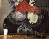 Flowers in a Small Delft Vase, c.1873 (oil on canvas) wallpaper mural kitchen preview