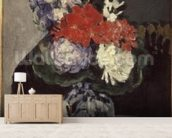 Flowers in a Small Delft Vase, c.1873 (oil on canvas) wallpaper mural living room preview