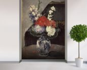 Flowers in a Small Delft Vase, c.1873 (oil on canvas) wallpaper mural in-room view