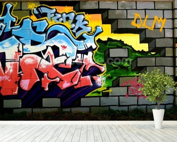 Wonderful Breach The Wall Of Graffiti Mural Wallpaper Room Setting