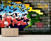 Breach the Wall of Graffiti mural wallpaper living room preview